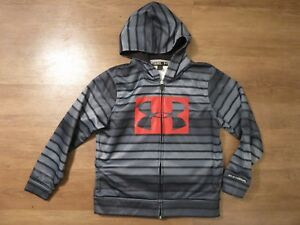 Under Armour Storm Boys Gray Black Red Striped Full Zip Logo Loose Hoodie Sz YLG $7.99