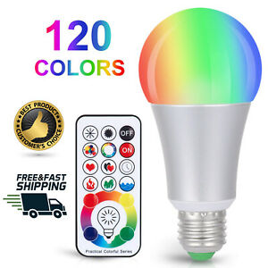 Color Changing LED Light Bulb 10W Remote Control Bright Lights RGBW Decor Timer