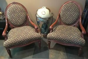 Sam Moore Vintage Designer French Country Round Back Arm Chairs(2)