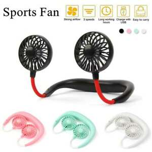 Small Neck Band Personal Portable Mini Air Fan With Dual Fan USB Rechargeable US