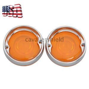 Yellow Turn Signal Light Lens Cover W/ Chrome Trim Ring For Harley Touring 86-18