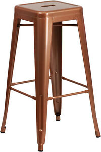 30'' High Backless Industrial Style Copper Finish Metal Restaurant Bar Stool