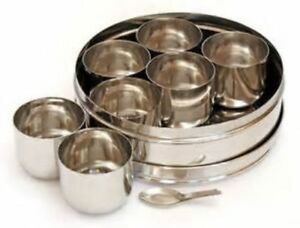 Stainless Steel Indian 7 Spice Tin Box Tandoori Masala Dabba Spices Box Storage!