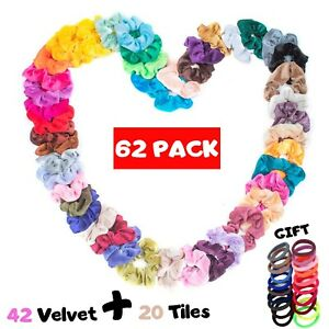 Hair Scrunchies Bands Elastic Velvet Hair Bobbles Women Hair Accessories 62PCS