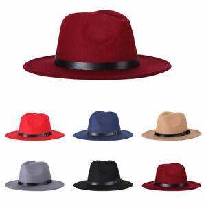 Vintage Unisex Autumn Fedora Wide Brim Cap Outdoor Casual Hat with Belt ADF