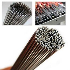 50Pcs Stainless Steel 30cm Camping Barbecue BBQ Skewers Needle Kebab Kabob Stick