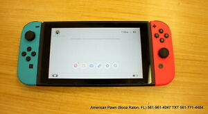 Nintendo Switch Console Black with Neon Blue and Neon Red Joy Controllers