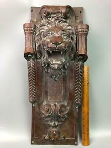 Heavy Antique Bronze Lion Head Pediment Wall Hanging Architectural Salvage