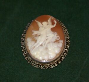 Very Large Antique 800 Silver Cameo Brooch Pendant of Two Embracing Angels