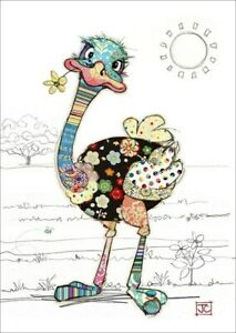 Notes Queries Ostrich with Gold Foil Flower in Mouth Blank Note Card