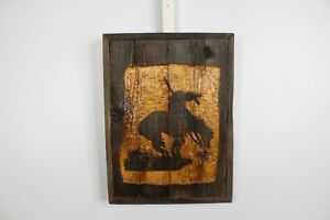 Hand Carved Horse Indian End Of Trail Wood Caving Reclaimed Barn Wood Rustic Dec