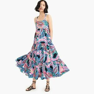 J Crew Apron Maxi Dress In Ratti Kaleidoscope Floral Size 00 NWT
