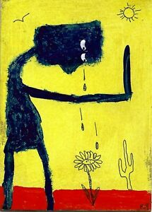 tears in the desert e9Art ACEO Cactus Flower Crying Outsider Art Folk Painting