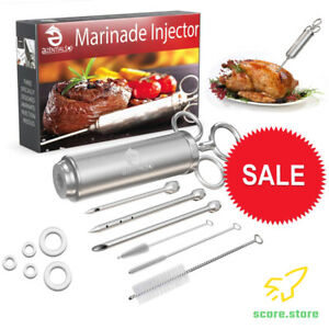 Meat Injector Stainless Tools Kit - Marinade Syringe & 3 Flavor Needles for BBQ