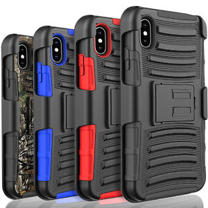 For Samsung Galaxy A10E Holster Clip Armor Phone Case +Tempered Glass Protector
