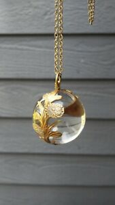 Antique Vintage Gold Filled Pools of Light Rock Crystal Sphere Pendant