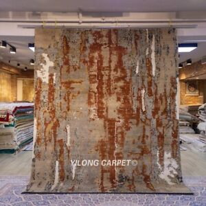 Yilong 8x10ft abstract Design hand knotted wool carpet Home Decor Woolen rug P15