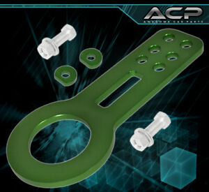 Rx7 Rx8 Miata Mx5 Anodized Green Race Front Bolt On Towing Tow Hook Assembly Kit