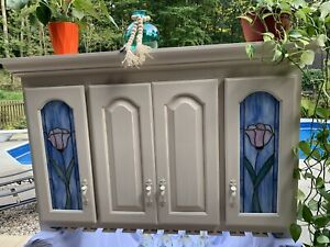 Furniture Cabinet Wine Bar Hand painted Boho With Stained Glass Cottage Beach