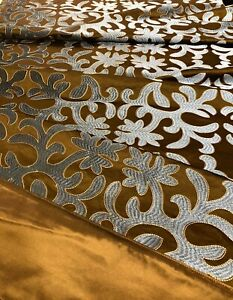 Runner Bed Runner End of Bed Cover Throw Cover. 96 x 32 Embroidered Silk $150.00