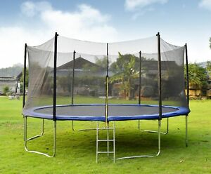 Merax 15FT Round Outdoor Trampoline with Enclosure W 96PCS Spring Pad Ladder
