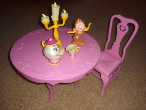 Disney 1993 Mattel Beauty and the Beast Musical Table Set wFigures for 12