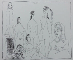 PICASSO Pablo : Painter rangy and women nude - LITHOGRAPHY signed #1200ex