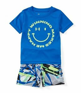 Under Armour Boys Smiley Face Tee & Geometric-Printed Shorts Set 18 Months Blue