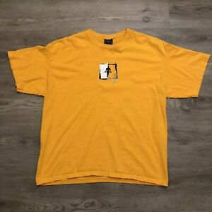 Golds Gym Mens Yellow Box Logo Print T Shirt Sz Large Short Sleeve $23.99
