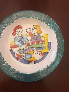 VINTAGE DESIMONE POTTERY PLATE GIRLS FISHING HAND PAINTED