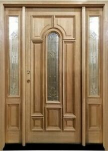 Mahogany Exterior Door-Bullet Glass Brass Caming 36w 80h w/2 Sidelight L Handed