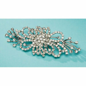 David Tutera Rhinestone Brooch Flat Spray Silver 4 X 1.5 Inches