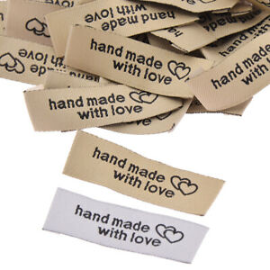 50 Pcs Handmade With Love Cloth Labels Garment Tag Clothing Sewing Accessories $2.27