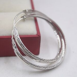 Fine Pure 18K White Gold Hoop Men Women Special Carved Big Earrings  3.8g