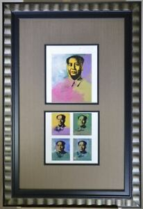 "Framed.  Andy Warhol Two Prints of ""Mao"" Signed with COAs from 1963 and 1982"