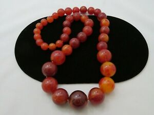 VINTAGE BAKELITE NECKLACE STATEMENT LONG BROWN AMBER CHERRY BUTTERSCOTCH 288g