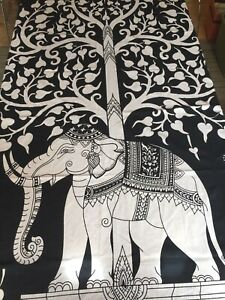TREE OF LIFE Wall Hanging Tablecloth Bed Spread Tapestry_Indian Elephant_Dorm