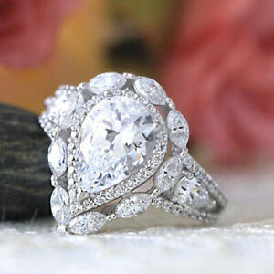 2.50 Ct Pear Cut Diamond 10K Real White Gold Halo Ladies Engagement Wedding Ring