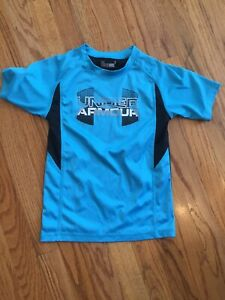 Under Armour Boys Blue And Black Short Sleeve Shirt Size 6 Euc