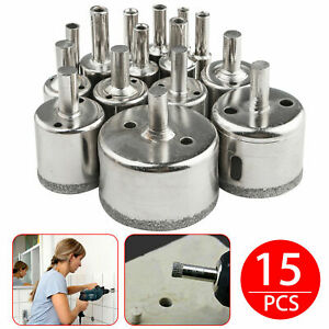 Diamond Drill Bits for Glass Ceramic Tile Porcelain Hole Saw Cutting 15 Bit Set