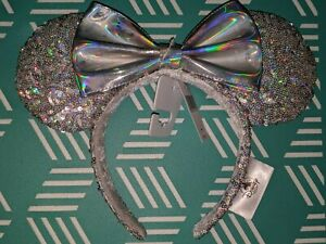 Disney Parks Minnie Mouse Magic Mirror Ears Headband with Bow Silver NEW 2019