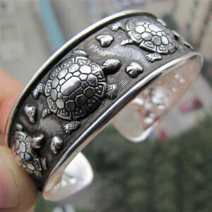Tibet Silver Plated Carved Longevity Turtle Pattern Bracelet Party Gift TR