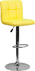 Contemporary Yellow Quilted Vinyl Adjustable Height Bar Stool with Chrome Base