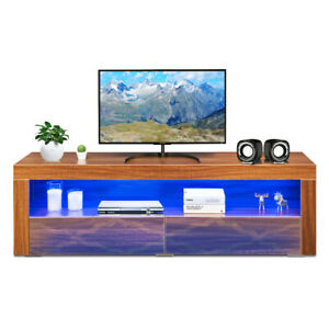 Modern TV Stand High Gloss Media Console Cabinet Entertainment Center wLED