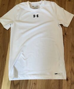 Boys' Under Armour Fitted Shirt Heat Gear Youth L  WHITE SPF 30+ EUC H83