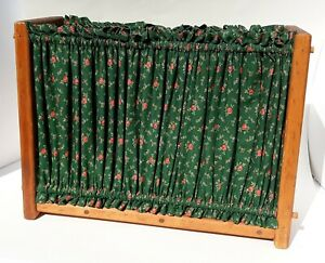 Vtg Rustic Retro Solid Wood Green Floral Fabric Magazine Newspaper Sewing Rack $31.49