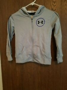 Girls Under Armour Gray Full-Zip Hoodie size XS Loose fit NWT