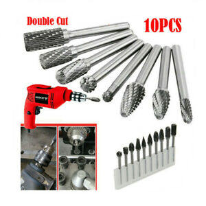 10x Rotary Burrs Carving Engraving Grinding Tool Tungsten Carbide 1/8 inch Shank