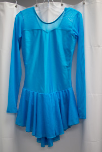 Ladies Aqua Long Sleeve Skating Dress - Size XS