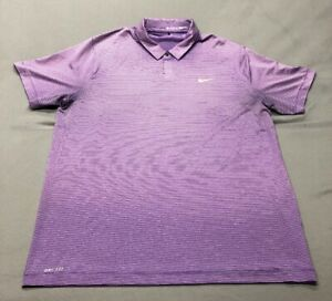 Nike Tiger Woods Collection Dri-Fit Golf Shirt Polo (XL Purple Striped)(VG)